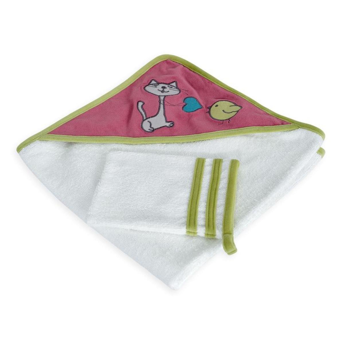 Cape de bain bébé - Avec gant de toilette   Accroch'coeur