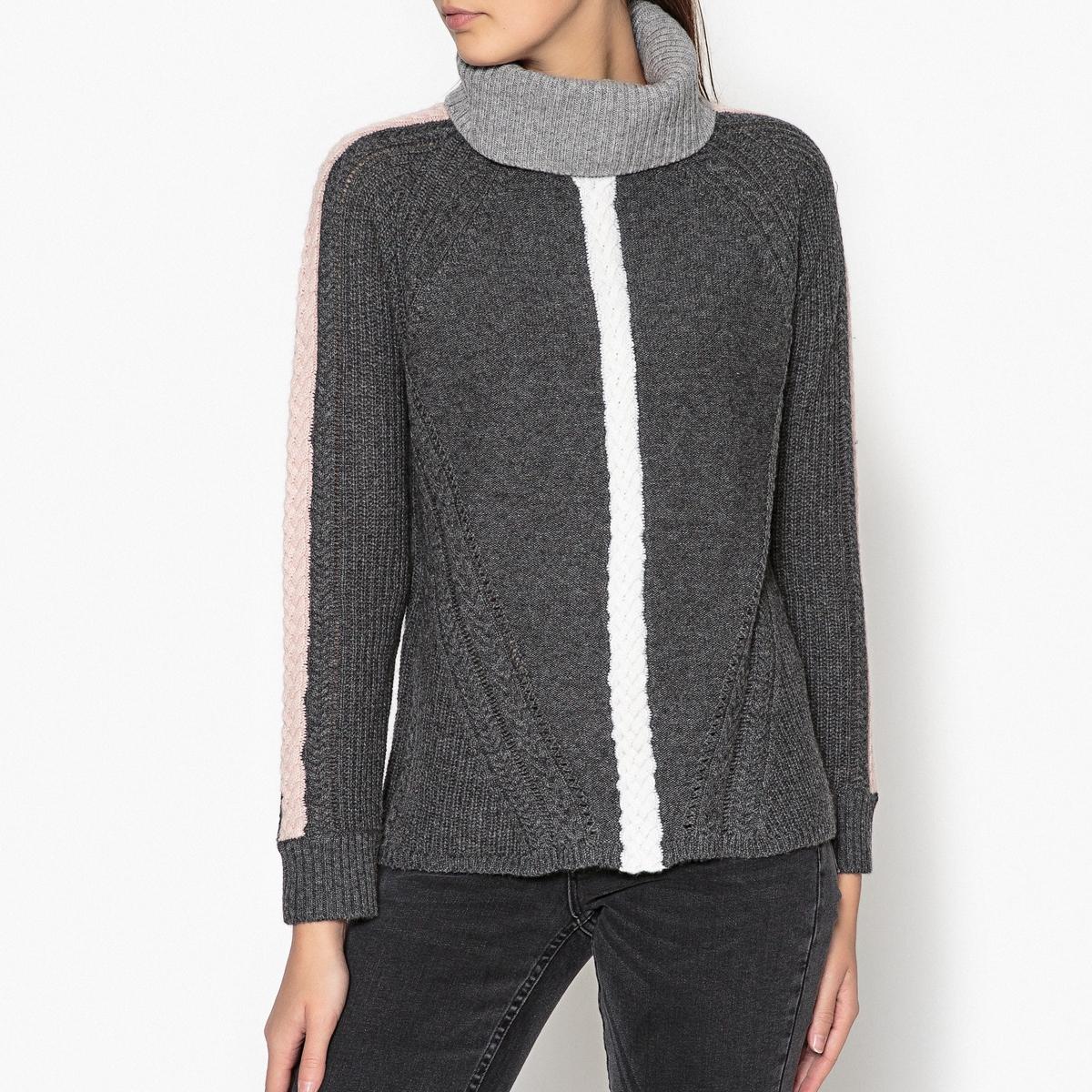 Пуловер с завёрнутым воротником и витым орнаментом NOLAN