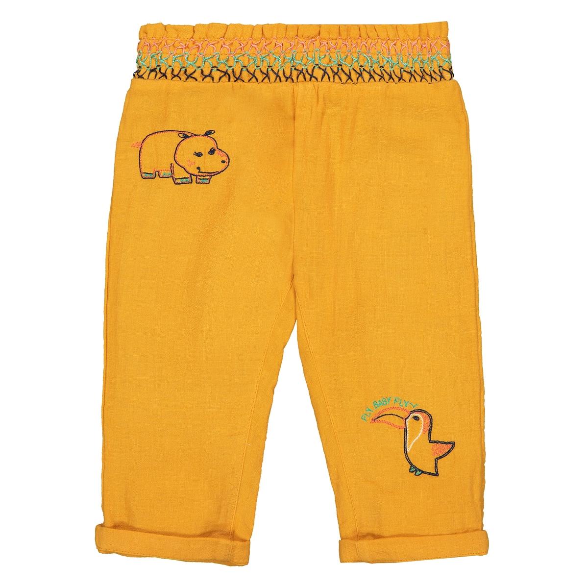 Брюки La Redoute Прямые с вышивкой мес - года 1 мес. - 54 см желтый шорты с вышивкой 1 мес 3 года