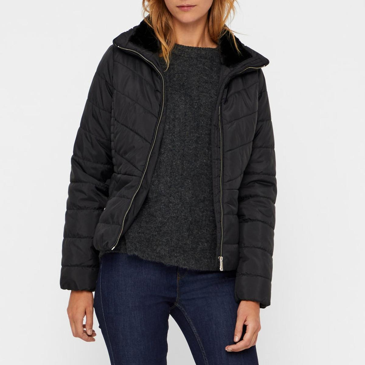 Куртка стеганая короткая на подкладке из искусственного меха жакет из велюра на подкладке из искусственного меха