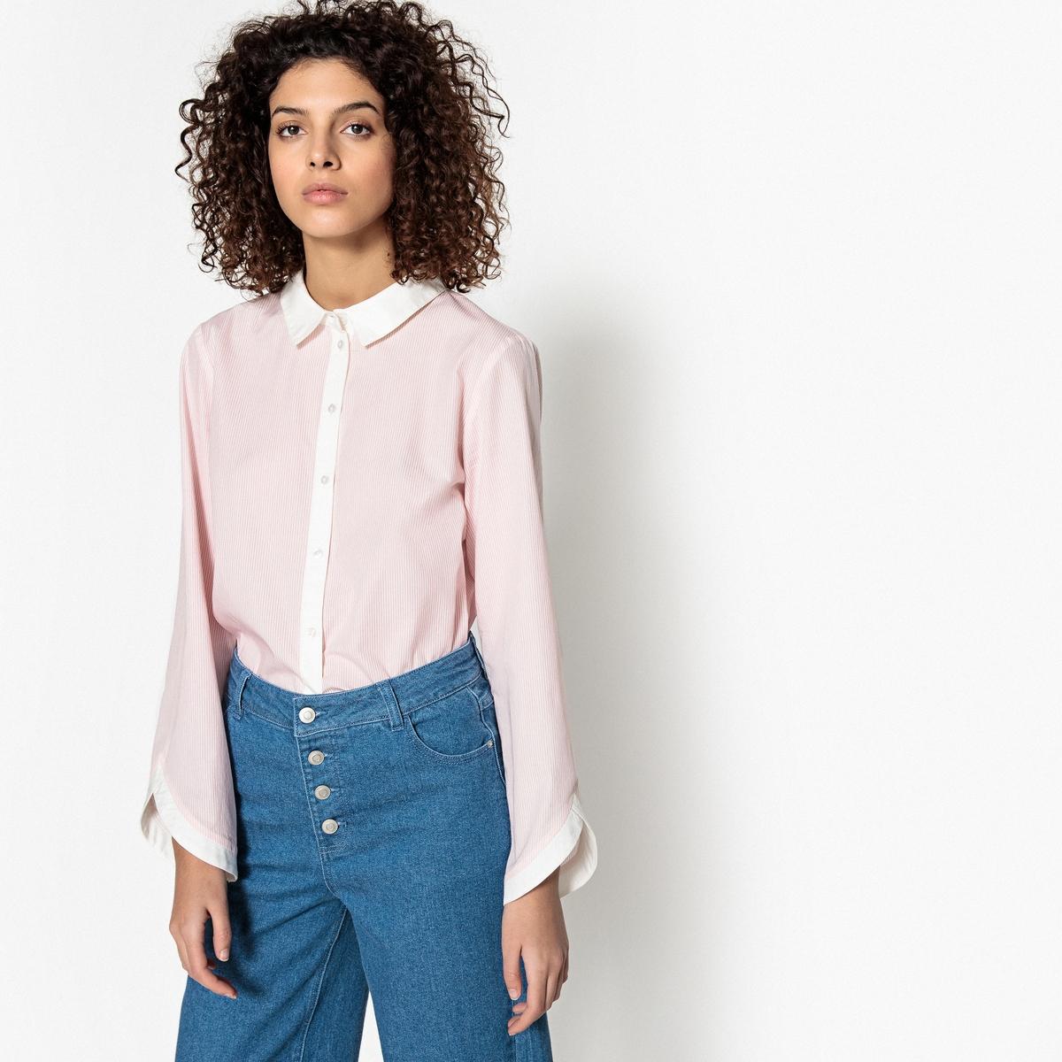 Рубашка La Redoute Прямая с воротником-поло и длинными рукавами XS розовый футболка la redoute constance xs розовый