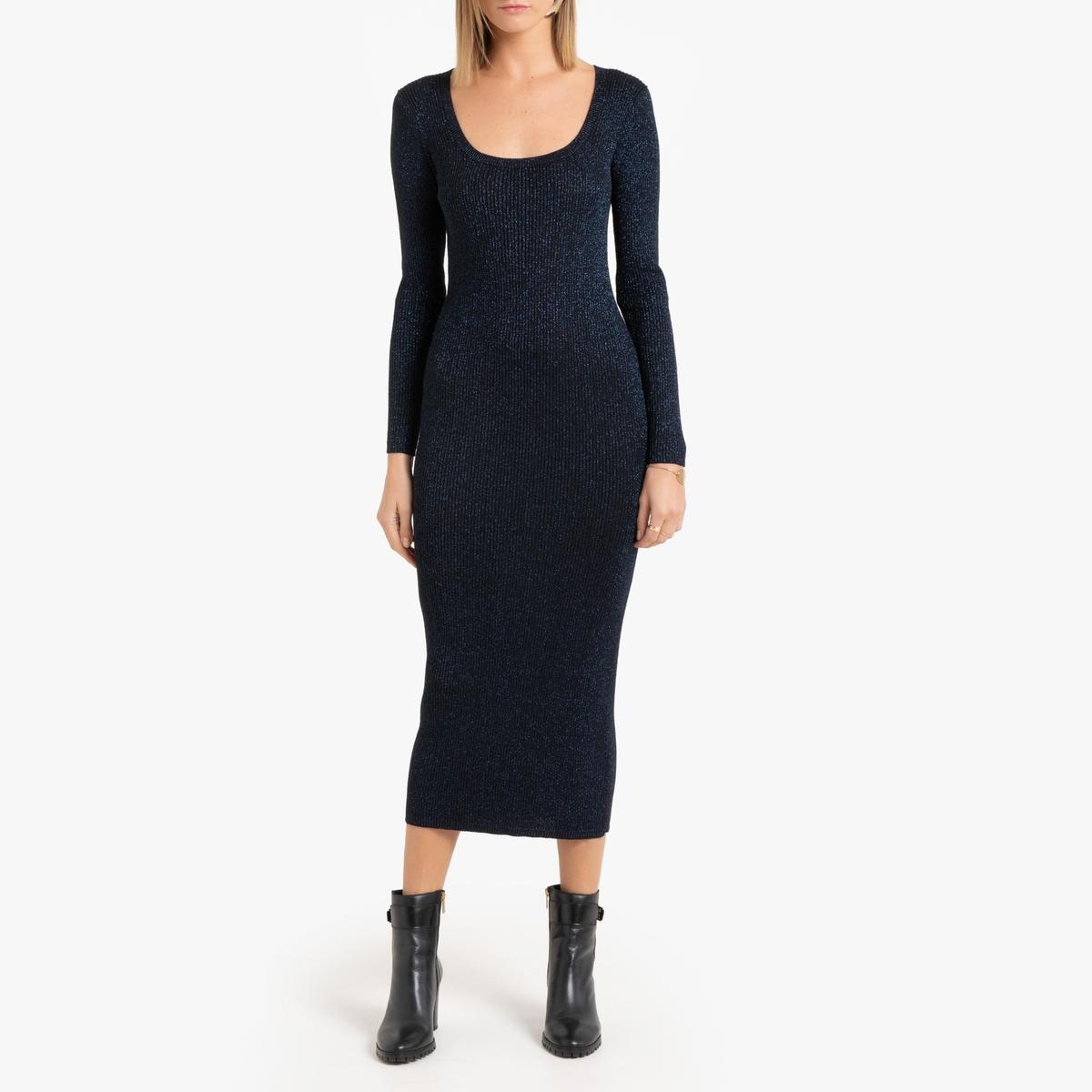 Платье La Redoute Длинное приталенное с длинными рукавами S черный приталенное платье с длинными рукавами gf ferre