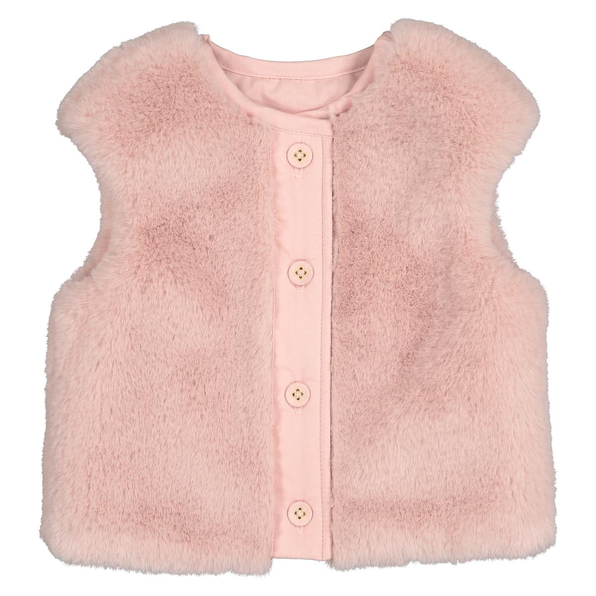 Кардиган La Redoute Без рукавов из искусственного меха мес- года 3 года - 94 см розовый комплект из пижам из la redoute предметов мес года 3 года 94 см серый