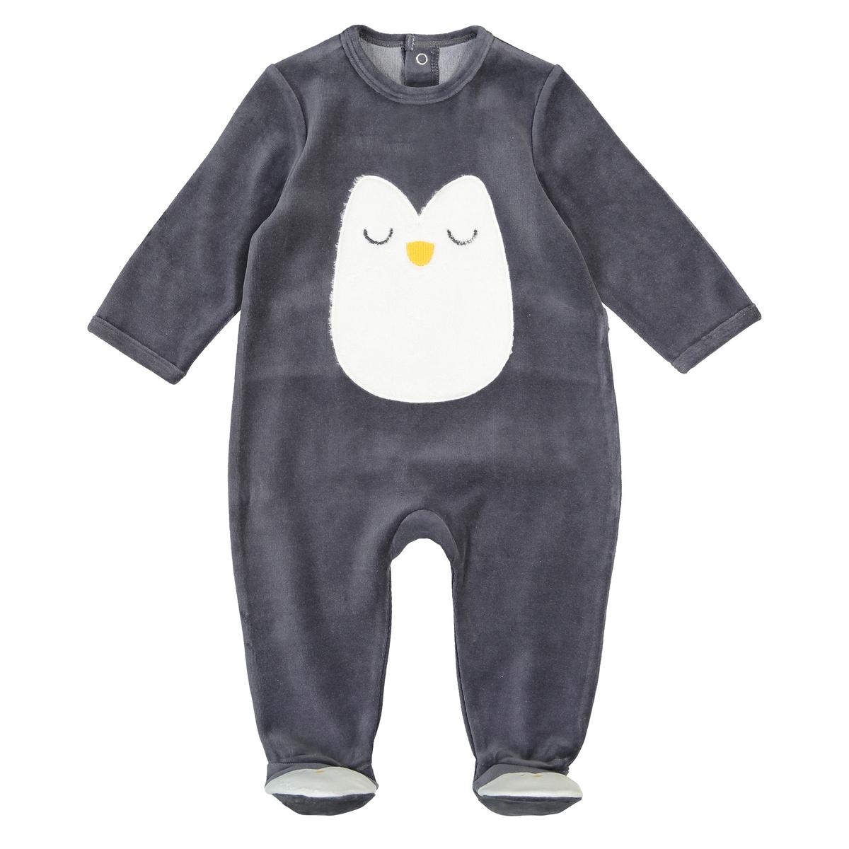 цена Пижама La Redoute С носочками из велюра мес - года 3 года - 94 см серый онлайн в 2017 году