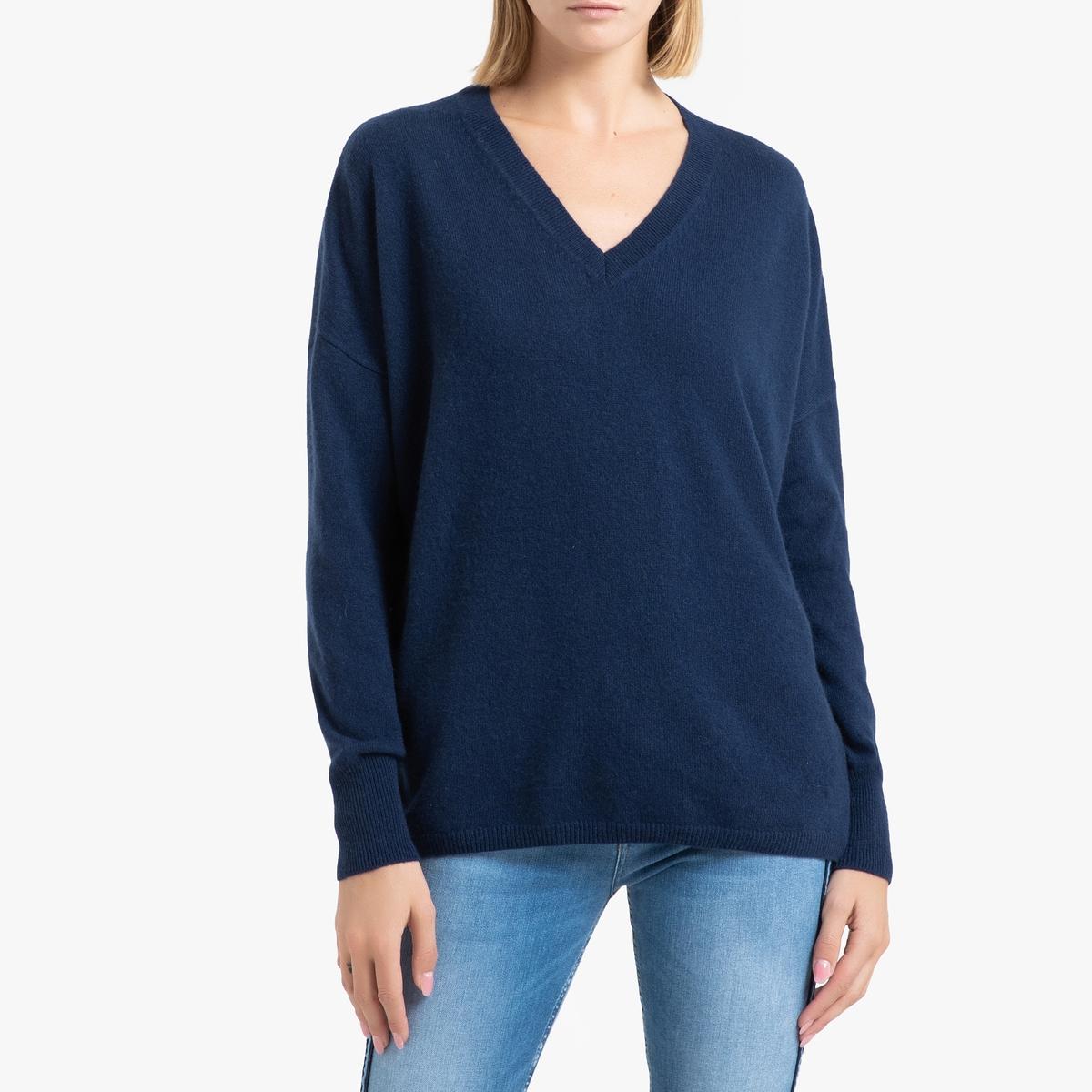 цена Пуловер La Redoute Из кашемира с v-образным вырезом из тонкого трикотажа ALIX 1(S) синий онлайн в 2017 году