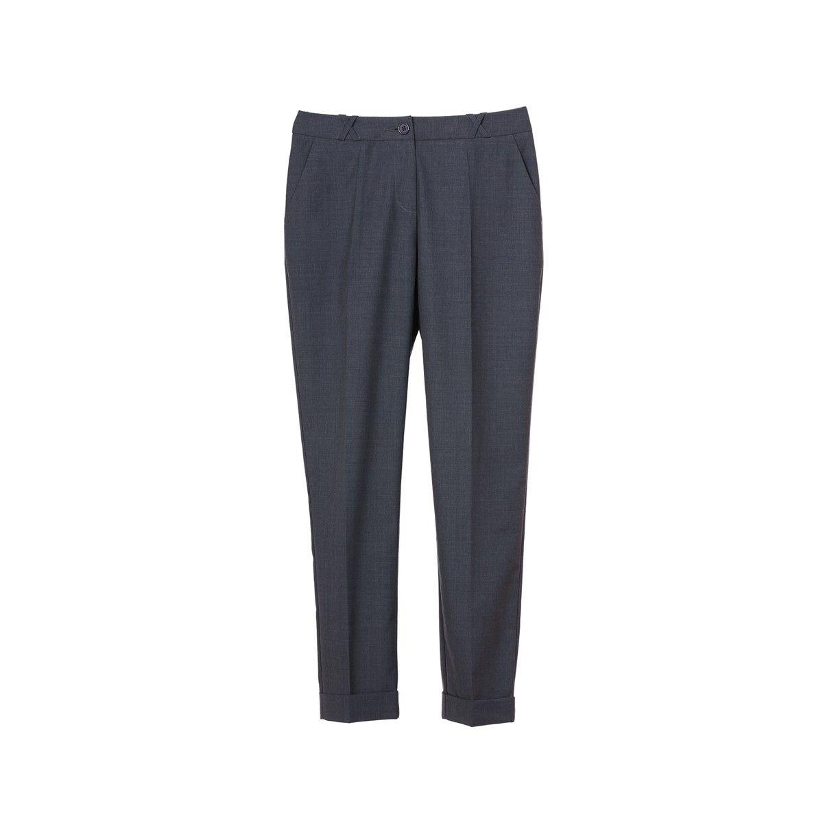 Pantalon slim taille basse en laine pour femme tenue business bureau
