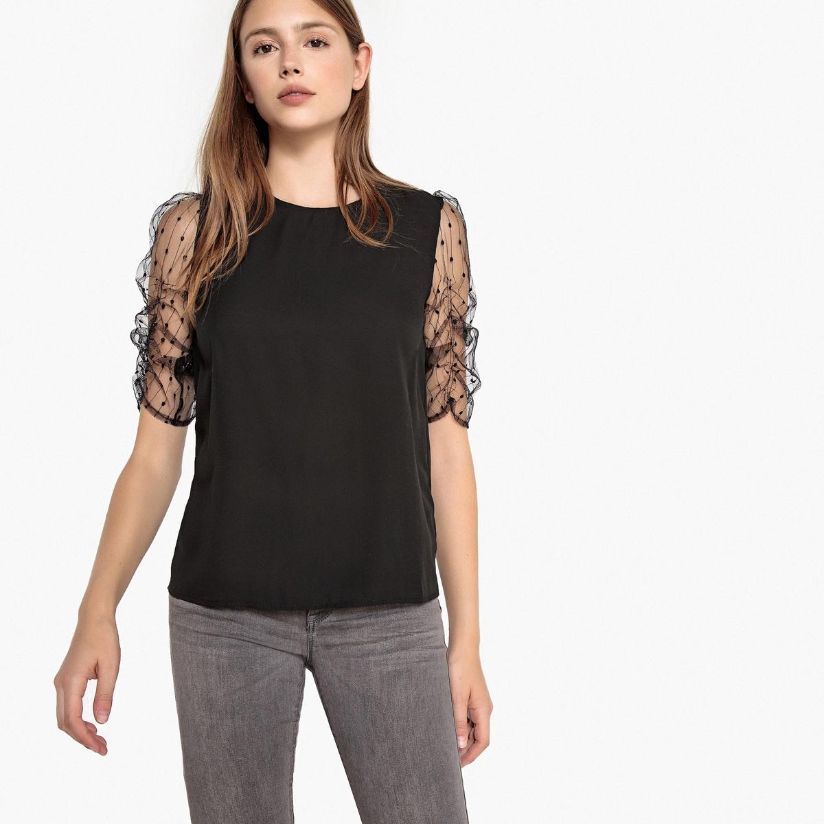 Блузка с круглым вырезом и короткими рукавами блузка best mountaine