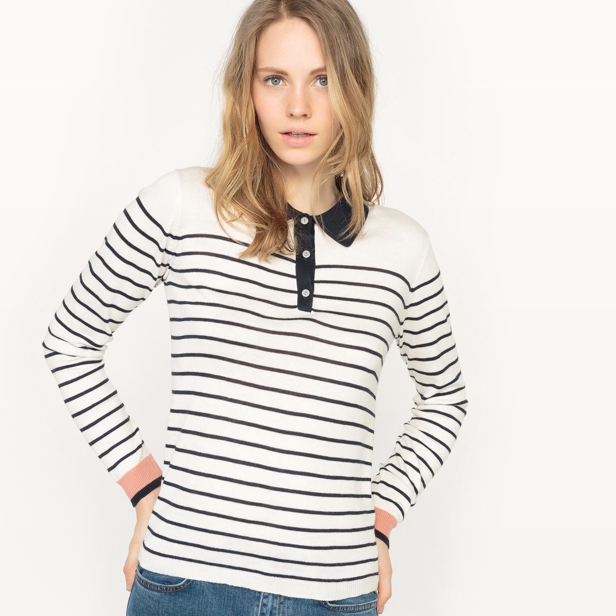 Пуловер в полоскуМатериал: 50% вискозы, 20% хлопка, 30% полиэстера.Длина рукава: длинные рукава.Форма воротника: воротник-поло, рубашечный.Покрой пуловера: стандартный.Рисунок: в полоску.<br><br>Цвет: в полоску/фон экрю