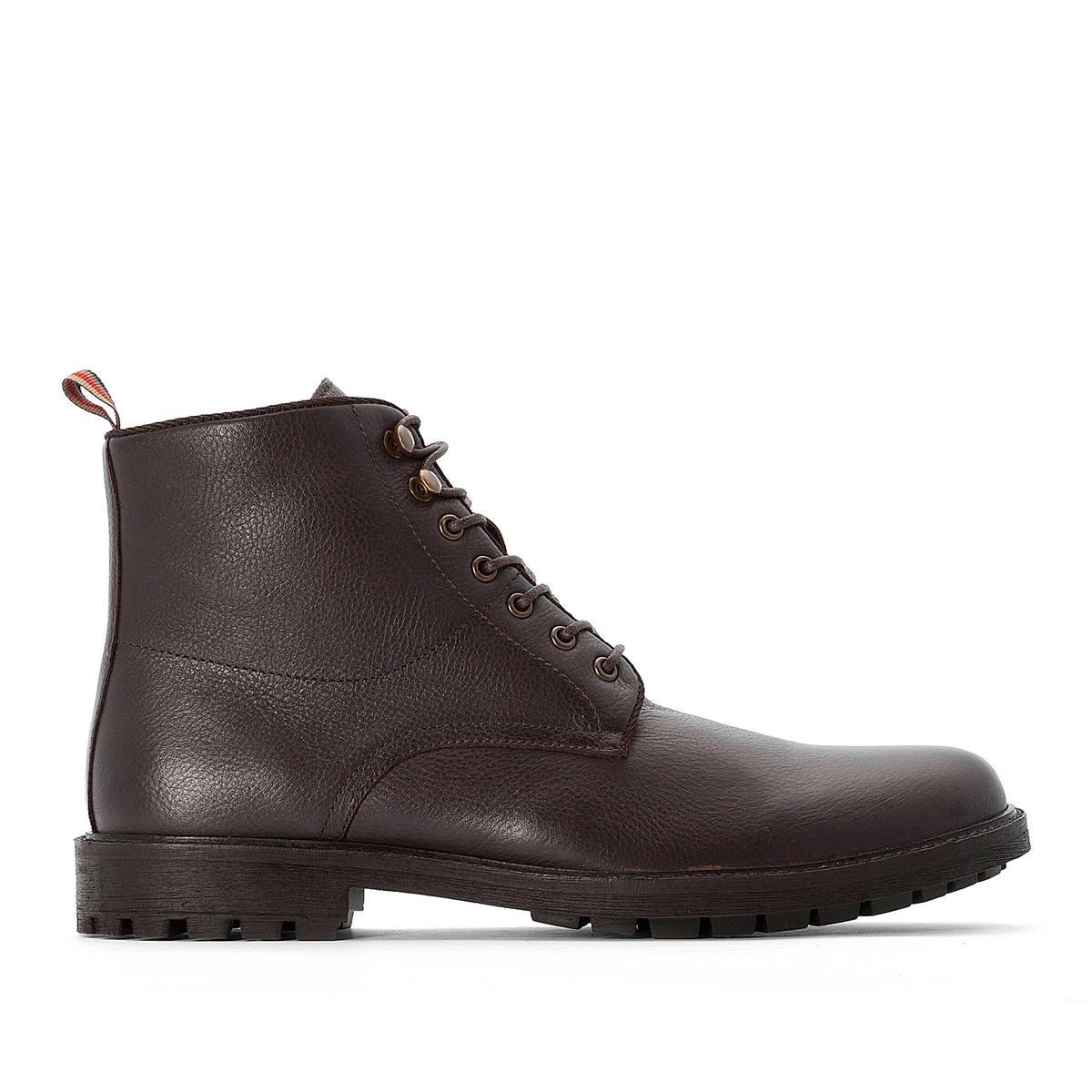 цена Ботинки La Redoute Кожаные на шнуровке 45 каштановый онлайн в 2017 году