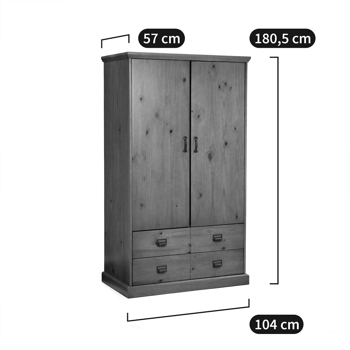 Armoire penderie 2 portes, 2 tiroirs, Lindley