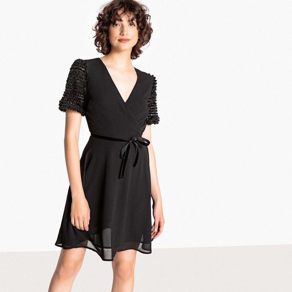 Платье La Redoute Короткое расклешенное с короткими рукавами 34 (FR) - 40 (RUS) черный платье la redoute расклешенное с короткими рукавами с гипюром 42 fr 48 rus черный