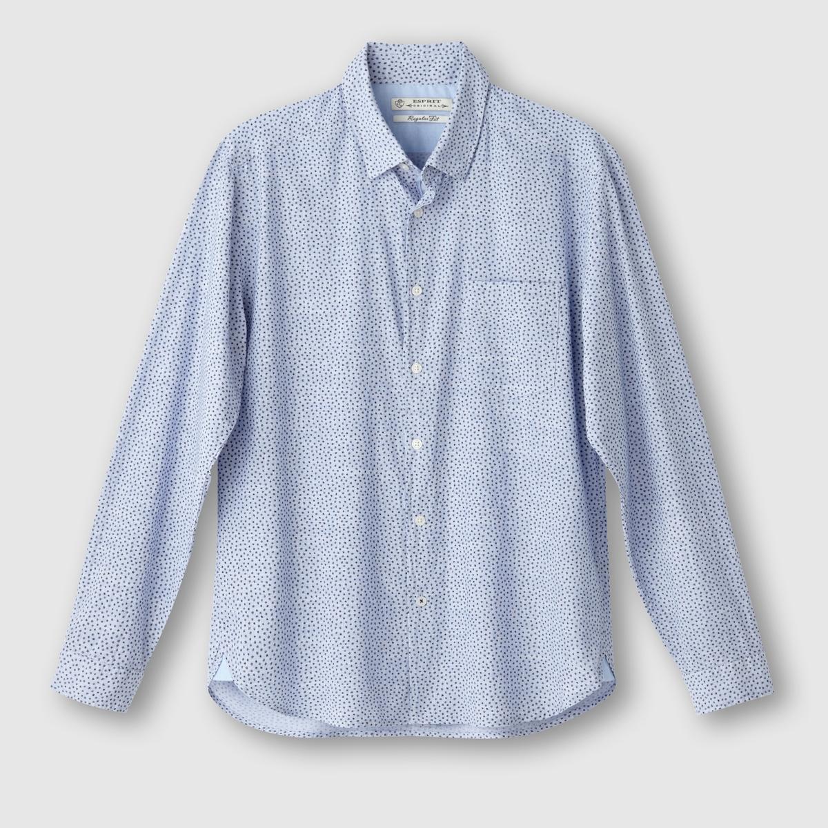Рубашка с рисунком с длинными рукавами, 100% хлопка<br><br>Цвет: синий