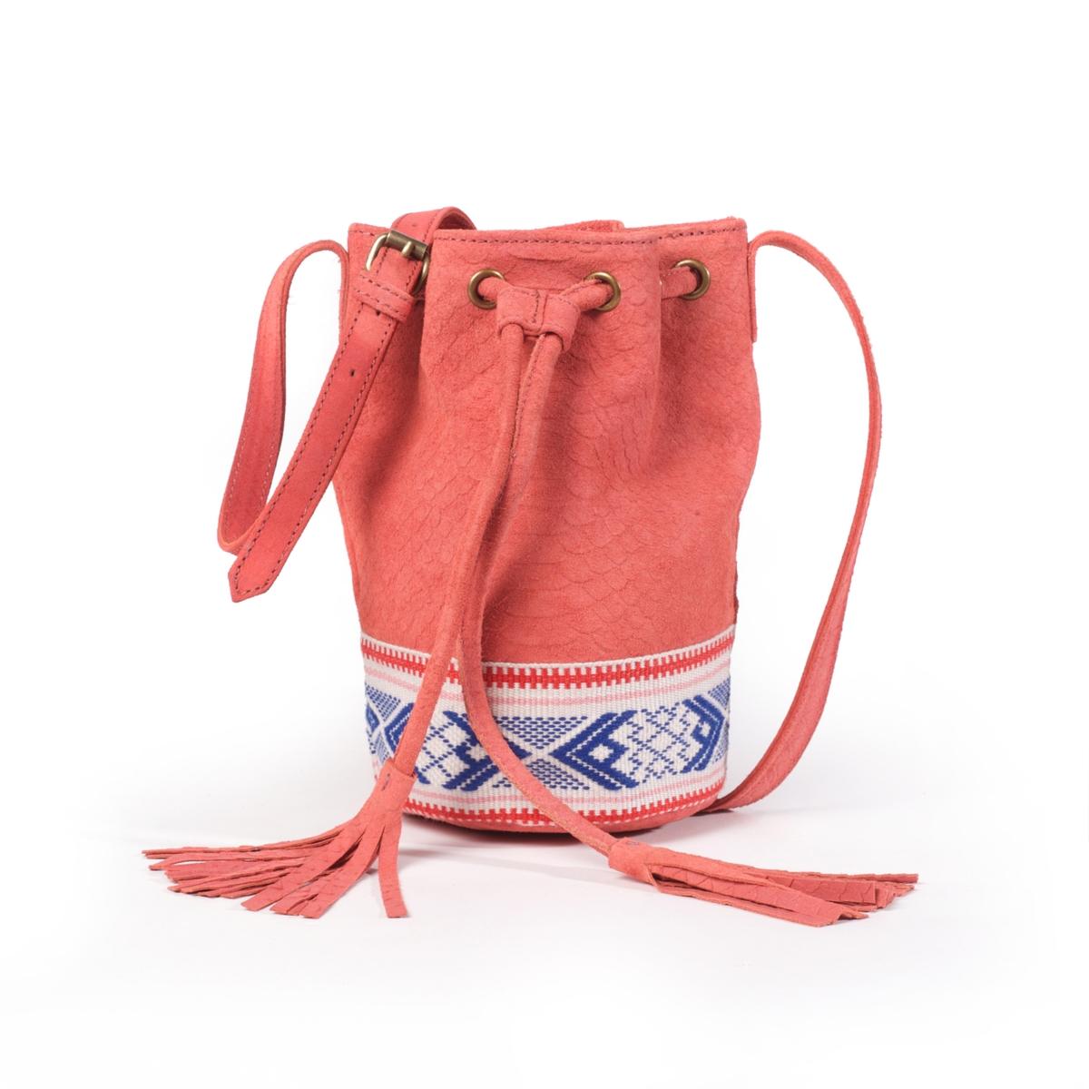 Сумка-мешок La Redoute Из кожи с этническим рисунком UNI розовый наволочка la redoute из хлопковой перкали aricha 50 x 70 см розовый