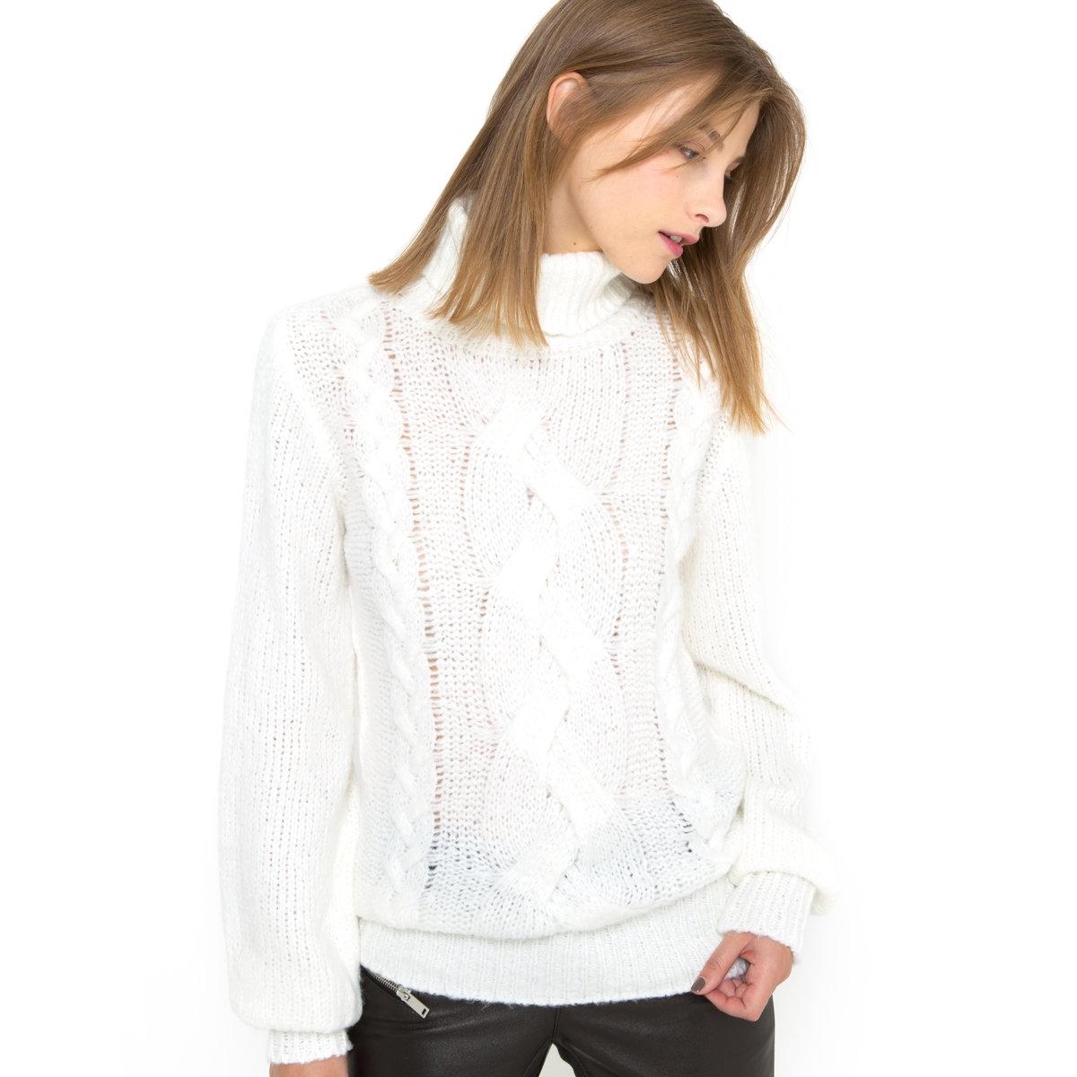 Пуловер с высоким воротником и узором косыПуловер из трикотажа, 100% акрила. Высокий воротник. Узор косы спереди и сзади. Длинные объемные рукава. Длина 69 см.<br><br>Цвет: экрю<br>Размер: 50/52 (FR) - 56/58 (RUS)