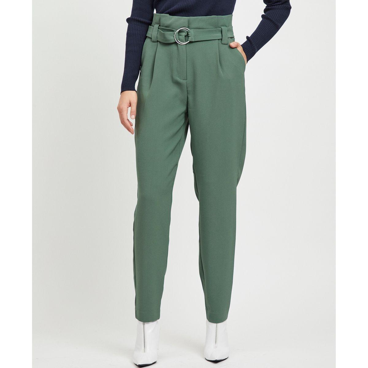 Pantalon taille haute avec ceinture et plis taille