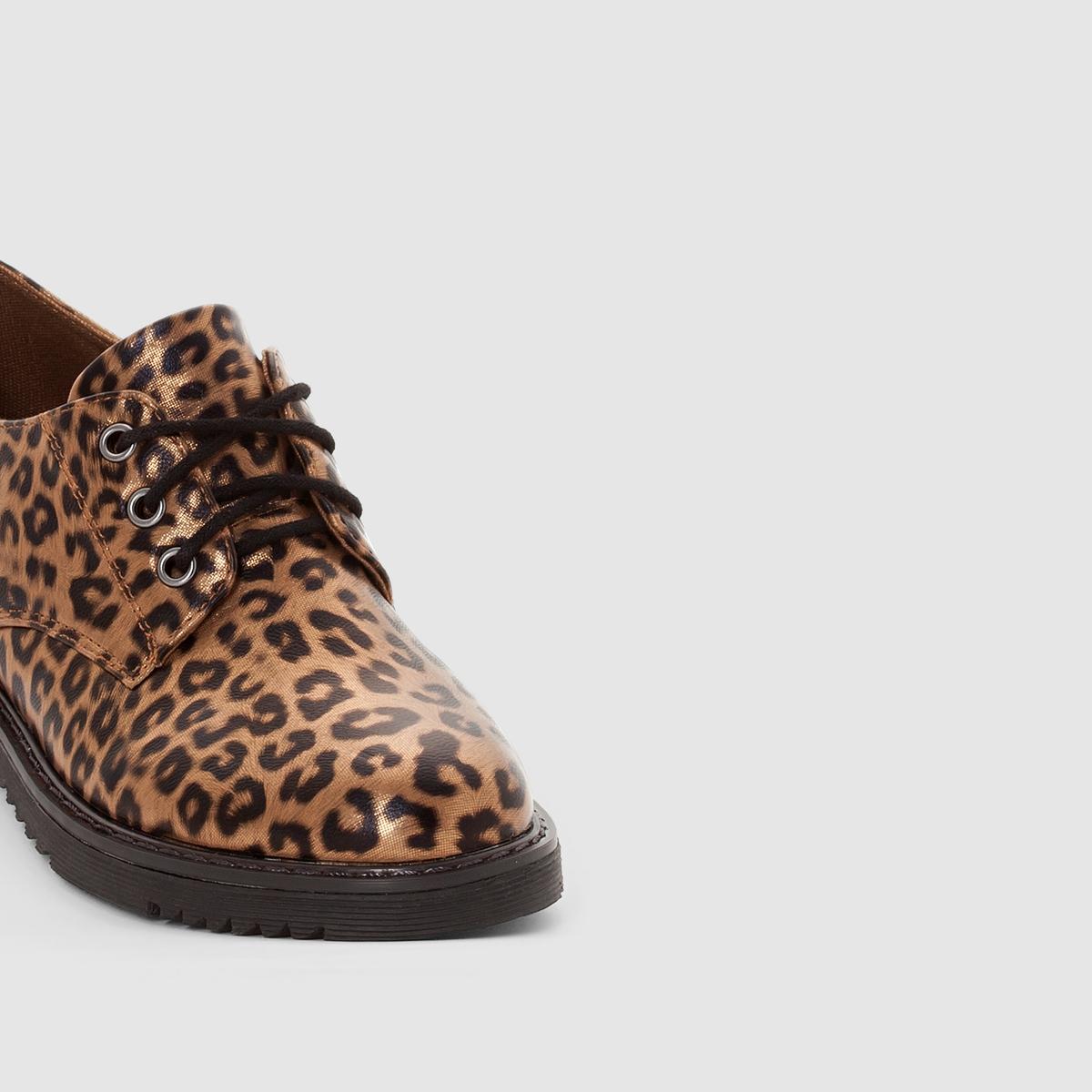Ботинки-дерби с леопардовым рисунком