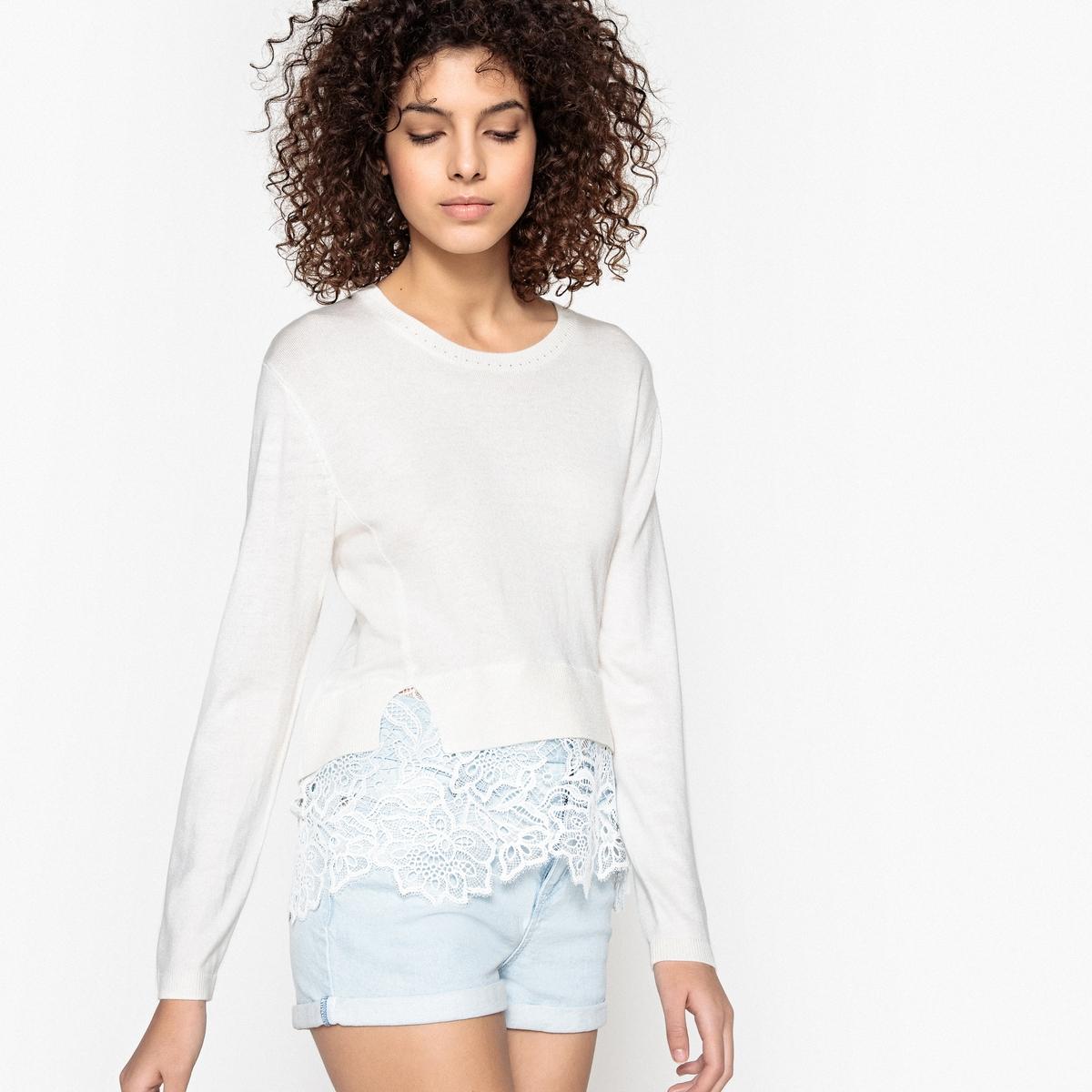 Пуловер кружевной PATRICIAДетали •  Длинные рукава •  Круглый вырез •  Тонкий трикотажСостав и уход •   30% вискозы, 10% шерсти, 20% акрила, 5% кашемира  •  Следуйте советам по уходу, указанным на этикетке<br><br>Цвет: белый<br>Размер: M