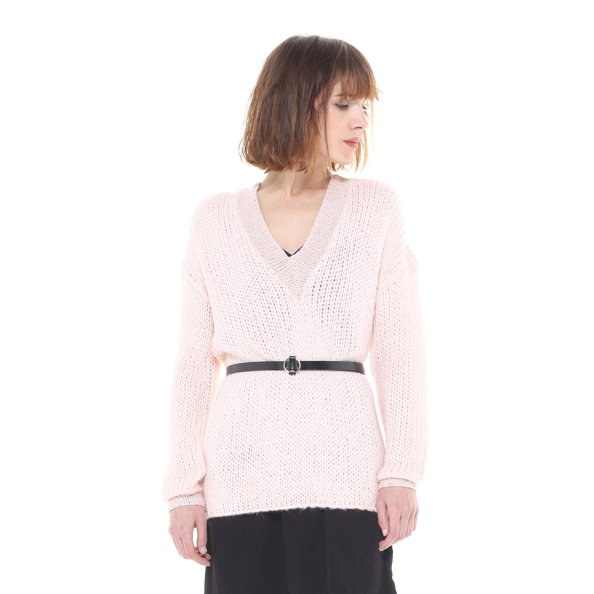 Пуловер с V-образным вырезом из плотного трикотажа пуловер из мохера