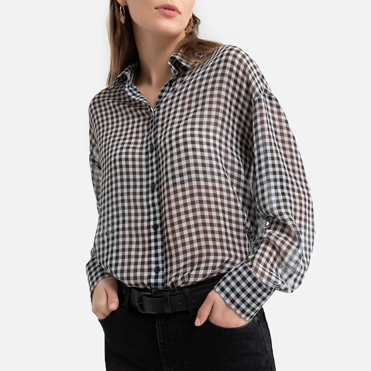 Camisa con estampado vichy de manga larga