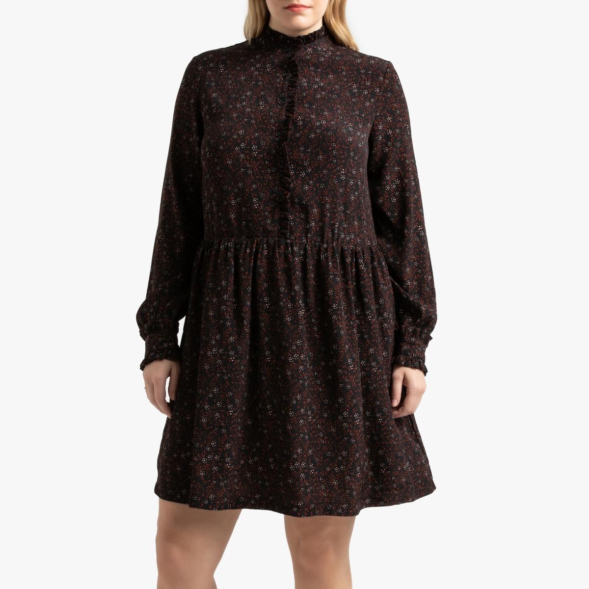 Платье La Redoute Расклешенное с воланом на вырезе и цветочным рисунком 50 (FR) - 56 (RUS) черный