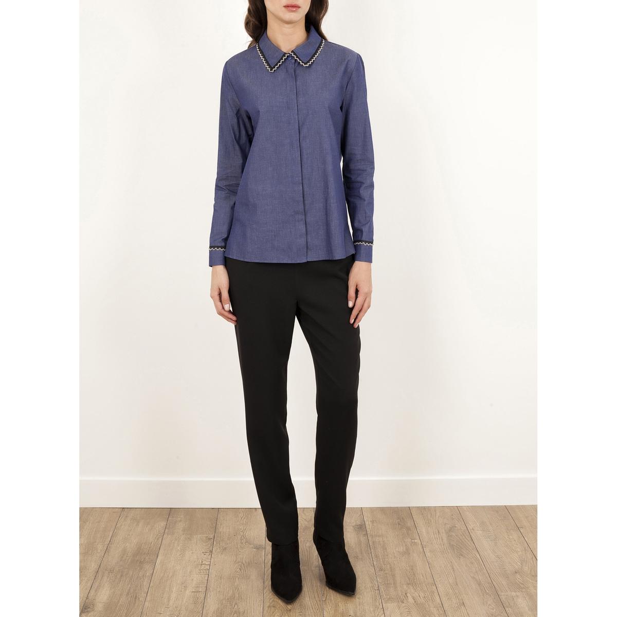Рубашка из денима с длинными рукавами TEXASРубашка из денима TEXAS от LENNY B . Воротник жемчужного цвета . Супатная застежка на пуговицы спереди . Длинные рукава. Состав и детали     Материал: 100% полиэстера.     Марка    LENNY B .<br><br>Цвет: синий