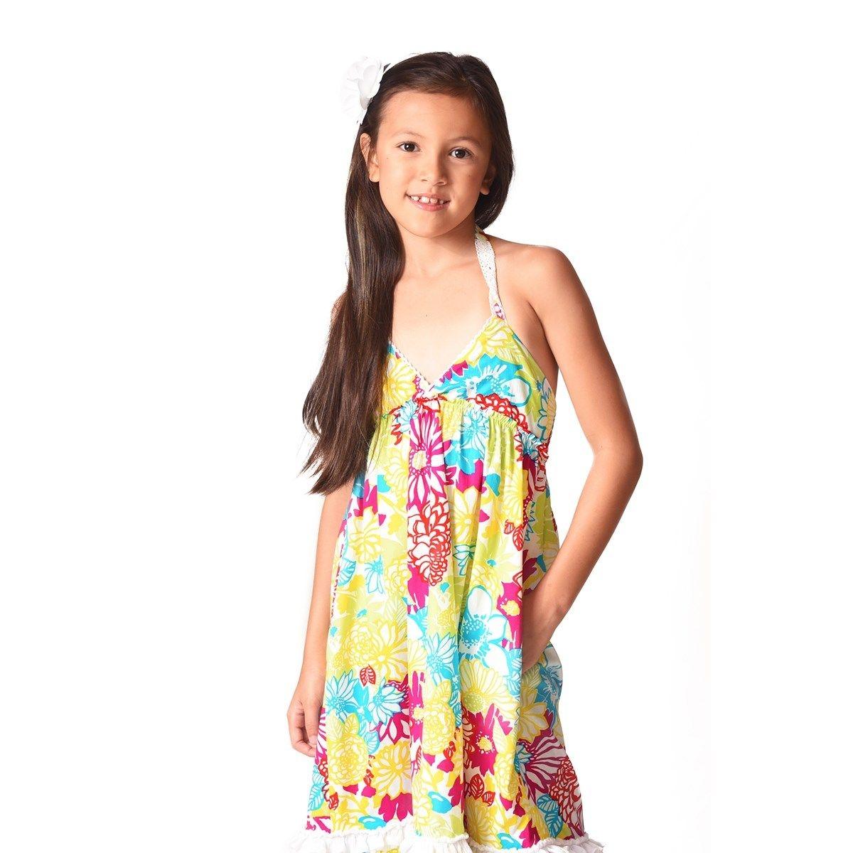 Robe de plage - maxi - jersey fleurs Hawaï - EUGENIE