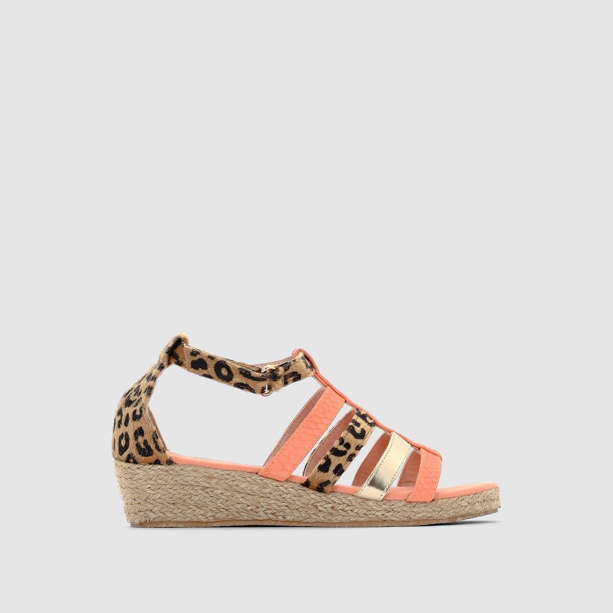 Sandales compensées, imprimé léopard