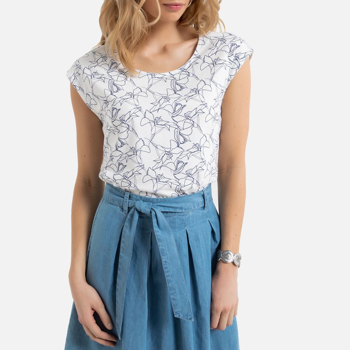 Blusa estampada com decote redondo largo, em puro algodão