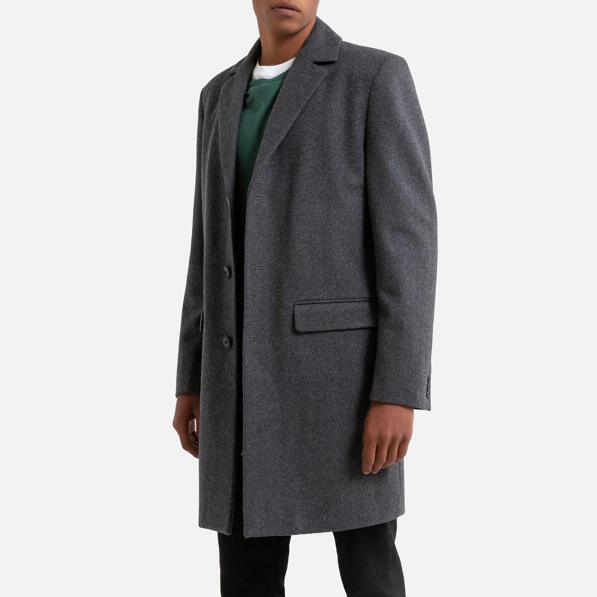 Пальто LaRedoute Прямого покроя из шерстяного драпа L серый блузка laredoute прямого покроя с бахромой l бежевый