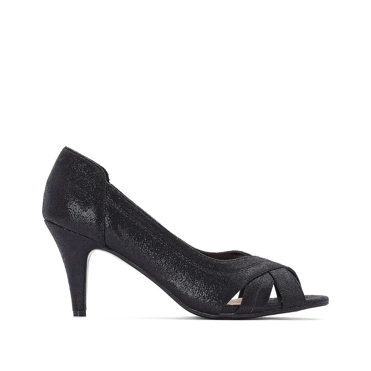 цена Туфли La Redoute С открытым мыском 41 черный онлайн в 2017 году