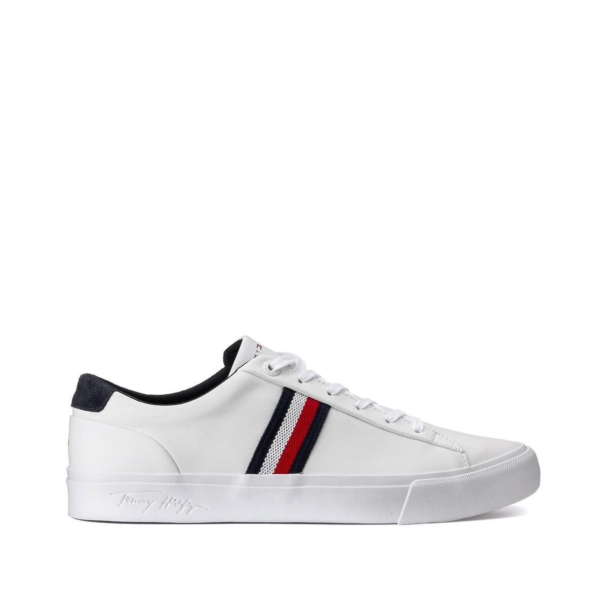 Tommy Hilfiger Corporate Leren sneakers met zijlogo in wit online kopen