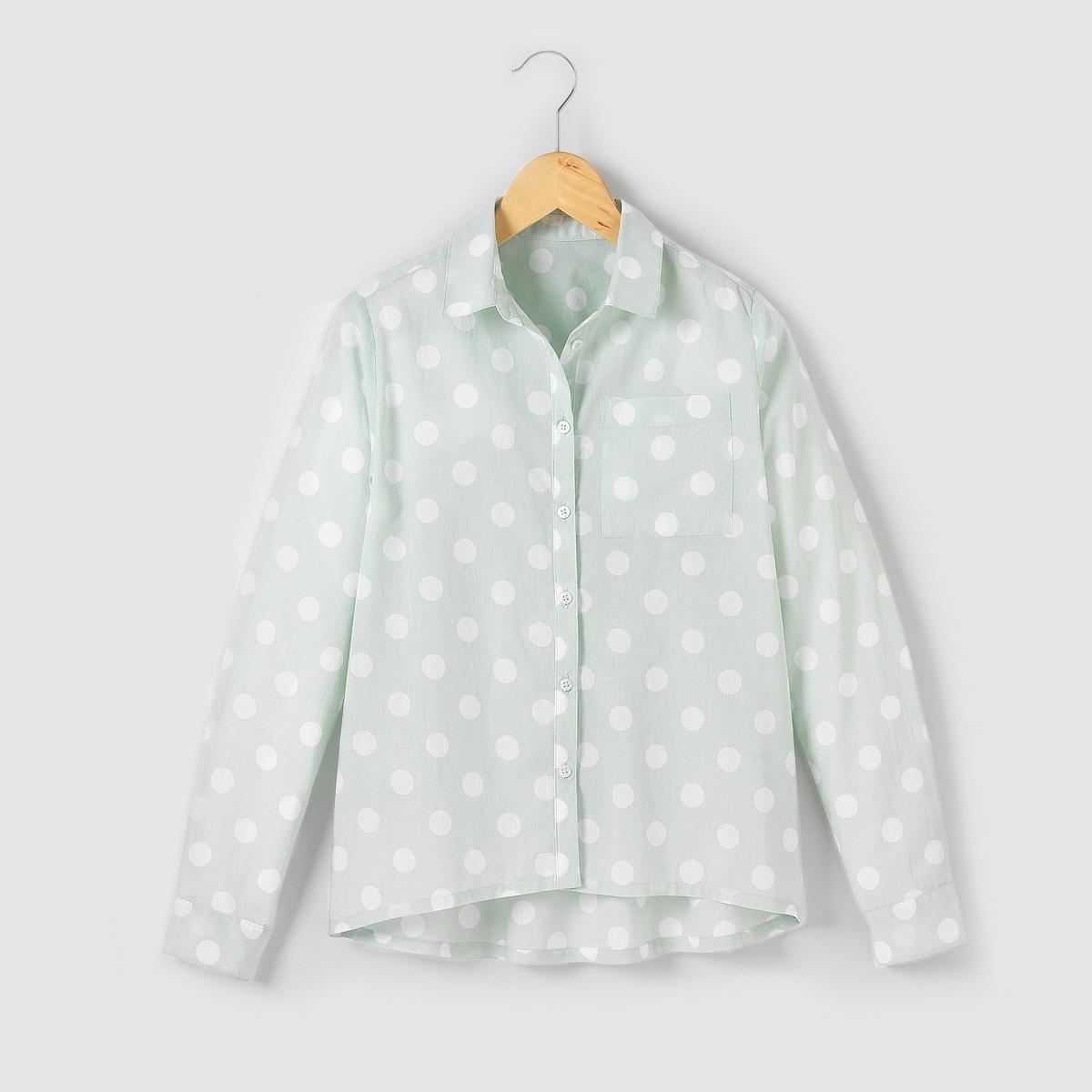 Рубашка в горошек,10-16 летРубашка в горошек. Застежка на пуговицы. Нагрудный карман. Немного длиннее сзади. Состав и описаниеМатериал       100% хлопкаУХОДСтирать и гладить с изнаночной стороныМашинная стирка при 30°C, с вещами подобных цветовМашинная сушка в умеренном режимеГладить при умеренной температуре.<br><br>Цвет: синий наб. рисунок
