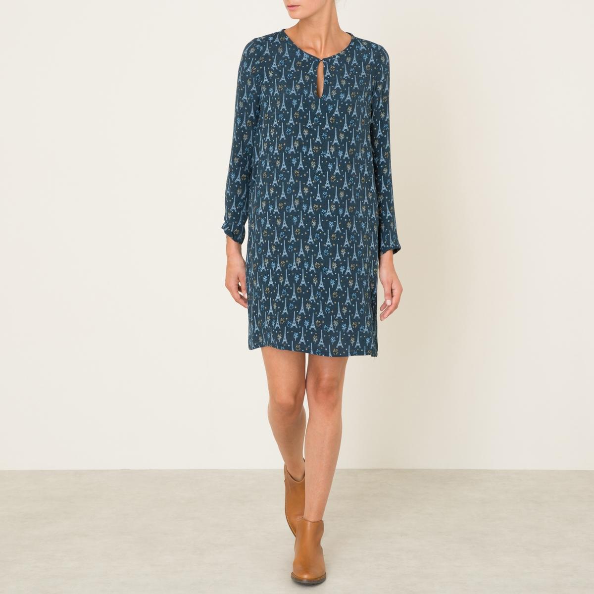 Платье ROCKERСостав и описание Материал : 100% вискозаДлина 93 см. (для размера 36)Марка : HARTFORD<br><br>Цвет: синий<br>Размер: L