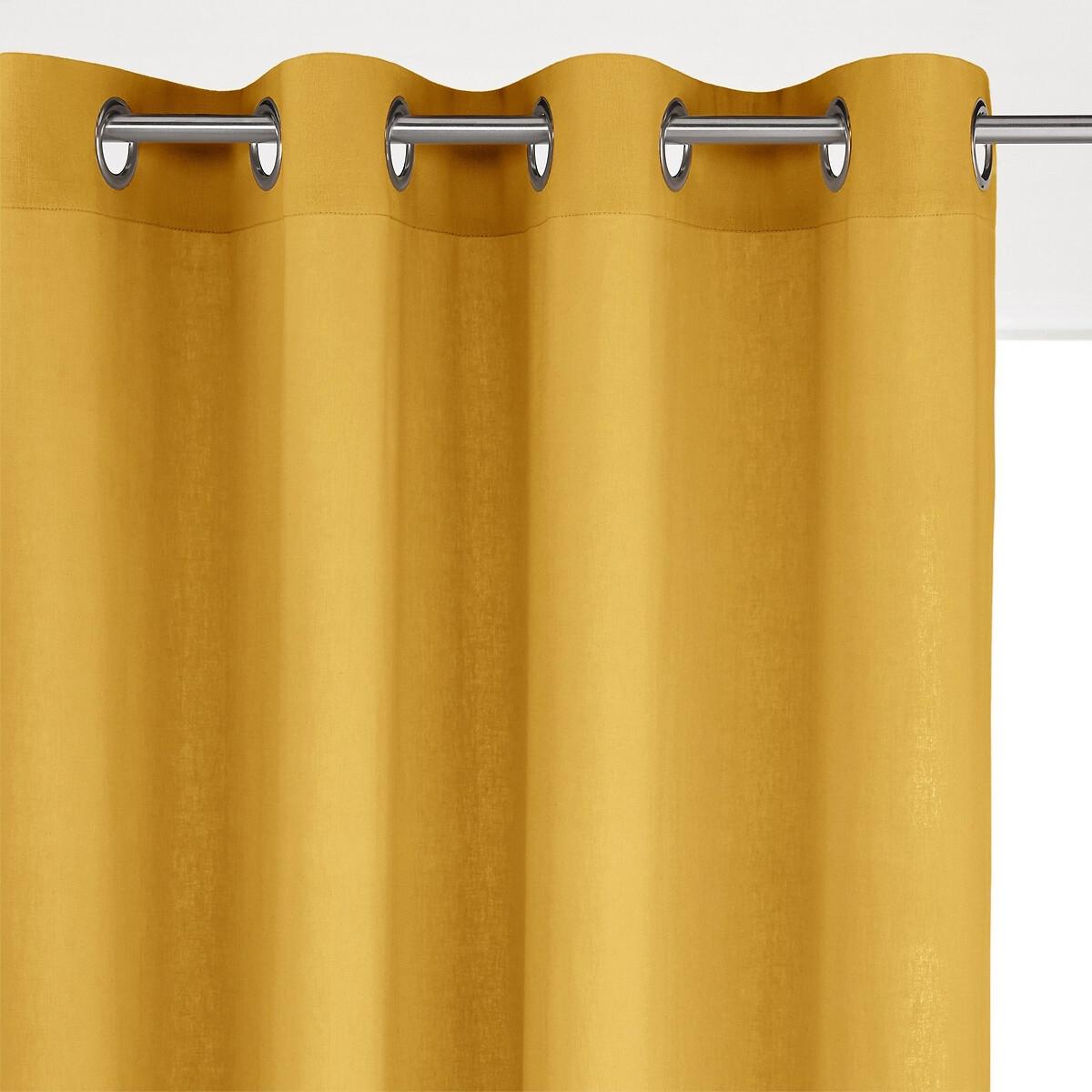 Штора LaRedoute Из льна и вискозы с люверсами ODORIE 250 x 135 см желтый