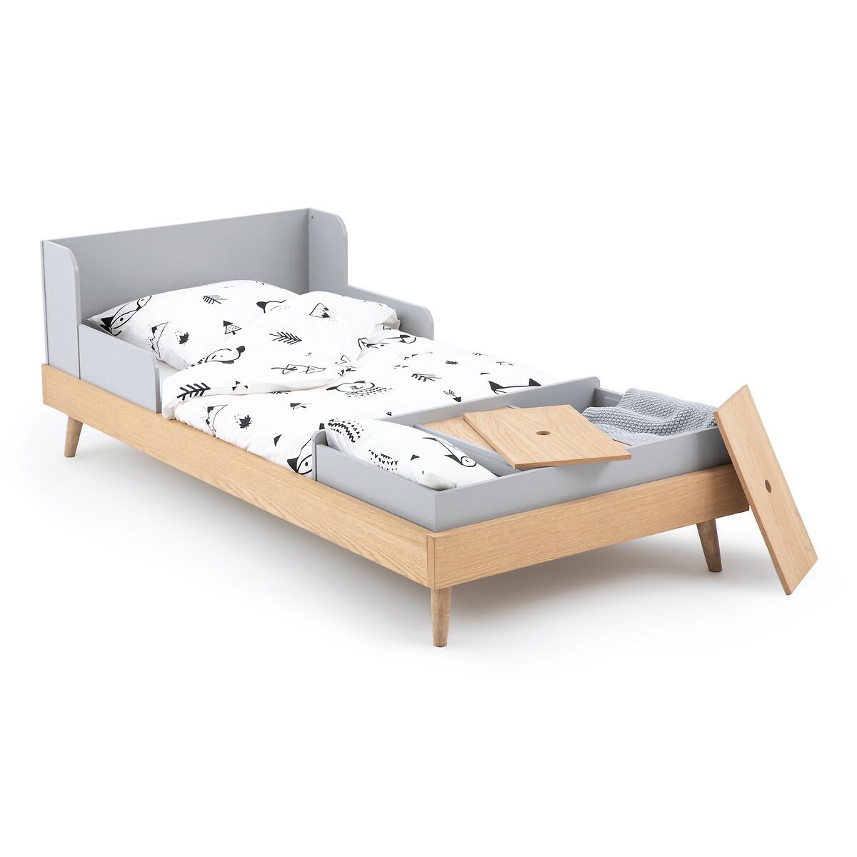 Кровать LaRedoute Раскладная детская Augusto 90 x 190 см серый кровать laredoute с ящиком отделениями для вещей и кроватным основанием yann 90 x 190 см белый
