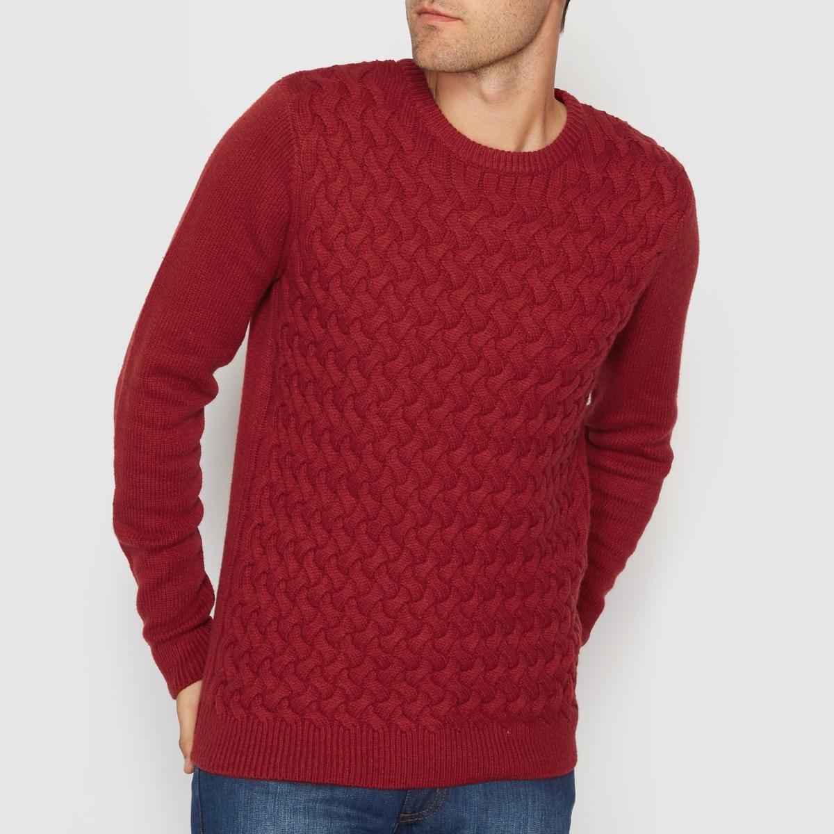 Пуловер с круглым вырезом и узором косы