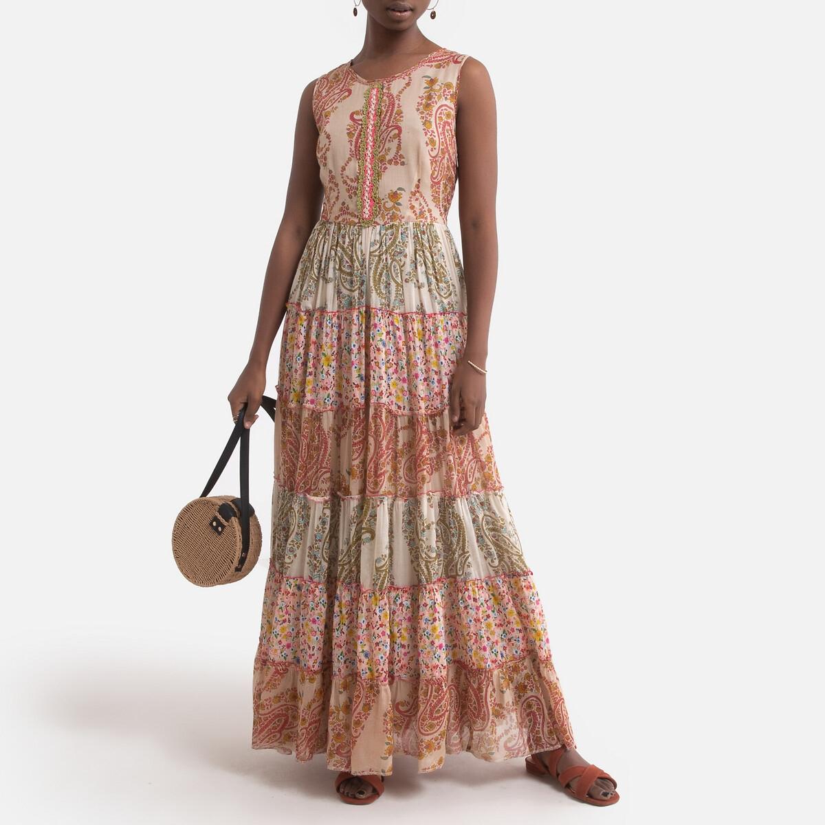 Платье LaRedoute Длинное CASSECOU расклешенное с рисунком L бежевый