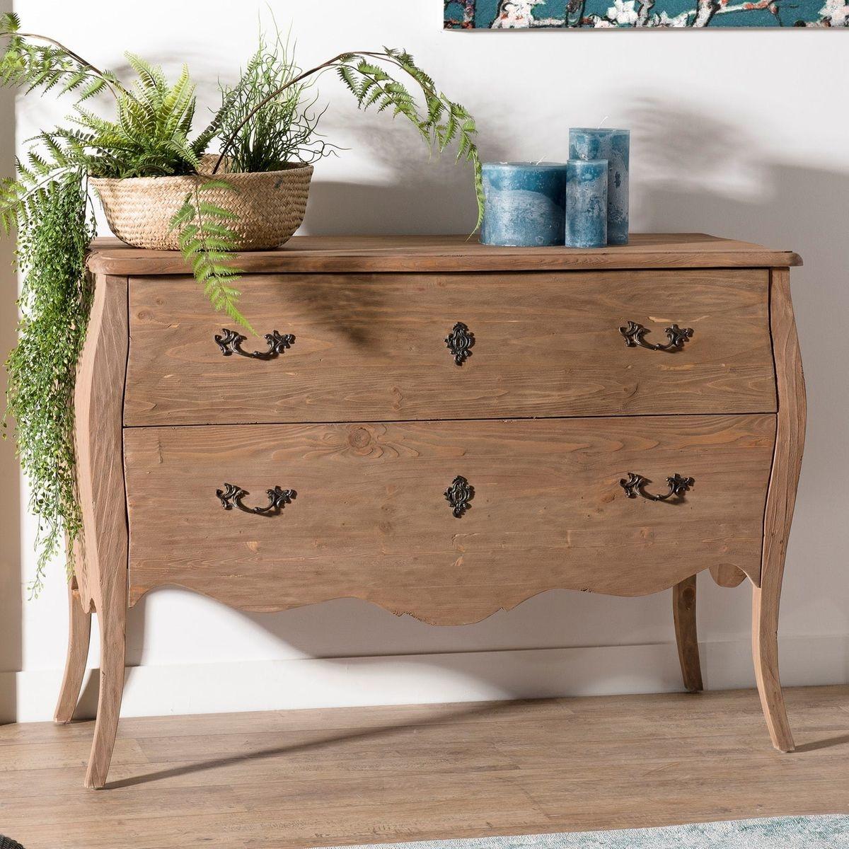 Commode romantique bois recyclé pin vieilli 2 tiroirs 121cm BRUGES