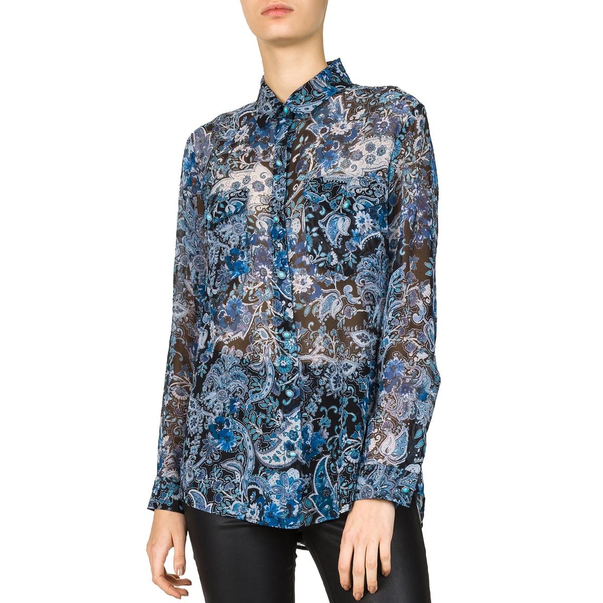 Рубашка из шелка с рисункомРубашка с рисунком и длинными рукавами THE KOOPLES. 100% шелк, нагрудные карманы.Детали •  Длинные рукава •  Прямой покрой •  Воротник-поло •  Рисунок-принтСостав и уход •  100% шелк •  Следуйте советам по уходу, указанным на этикетке<br><br>Цвет: наб. рисунок синий
