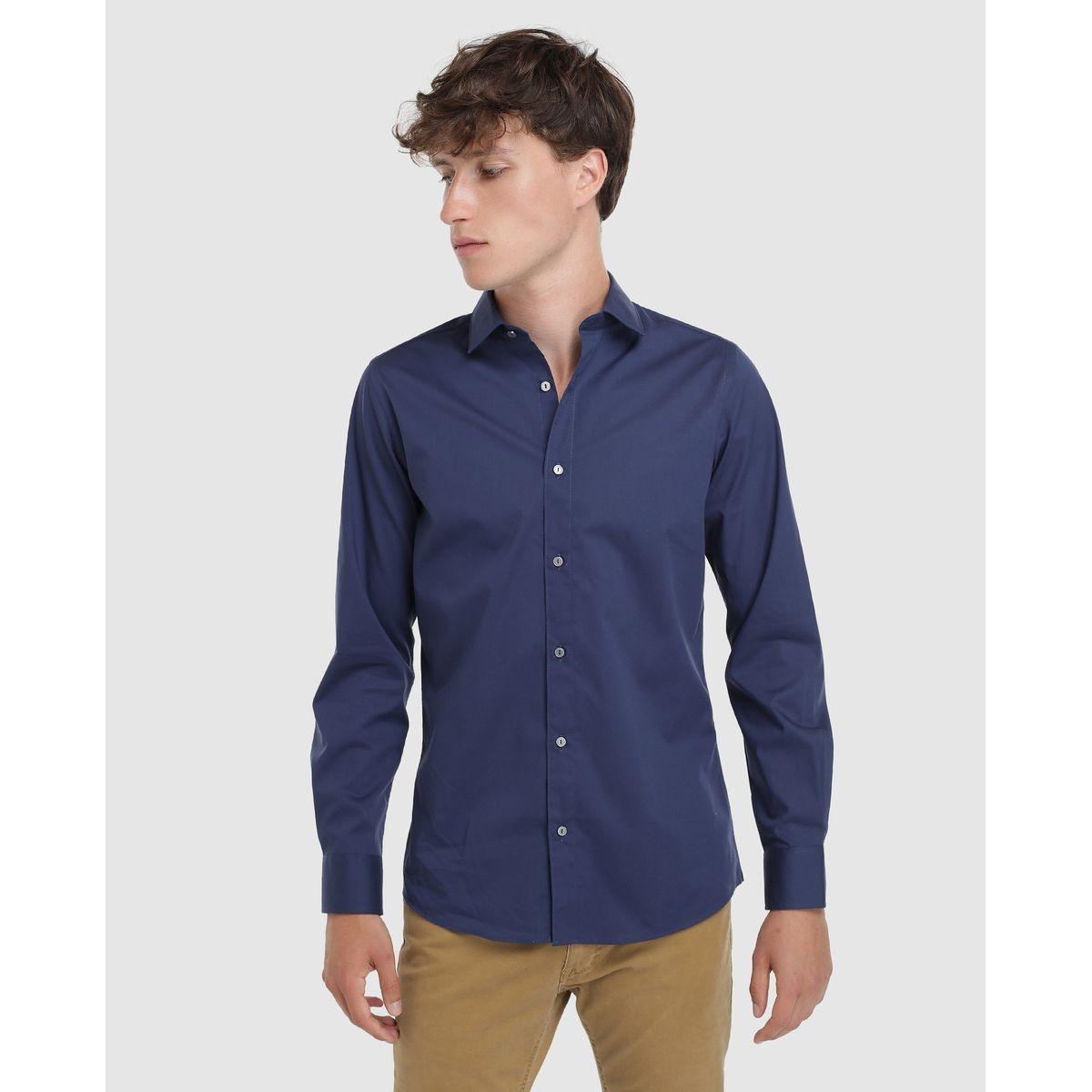 Chemise habillée skinny repassage facile unie