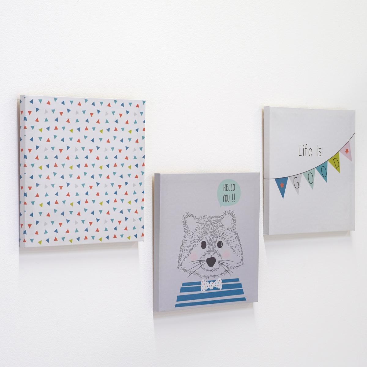 Комплект из 3 декоративных картин KiyuteОписание декоративных картин Kiyute:3 иллюстрации, изображающие прекрасный мир детства : гирлянда, плюшевый медведь и геометрические рисунки.Характеристики декоративных картин Kiyute:1 крюк для крепления к стене (винты и крепления продаются отдельно)+ комплект из 3 полотен в рамке из сосныОткройте для себя всю коллекцию декора на сайте laredoute.ruРазмеры декоративных картин Kiyute:25 x 25 x 18 см<br><br>Цвет: разноцветный<br>Размер: единый размер