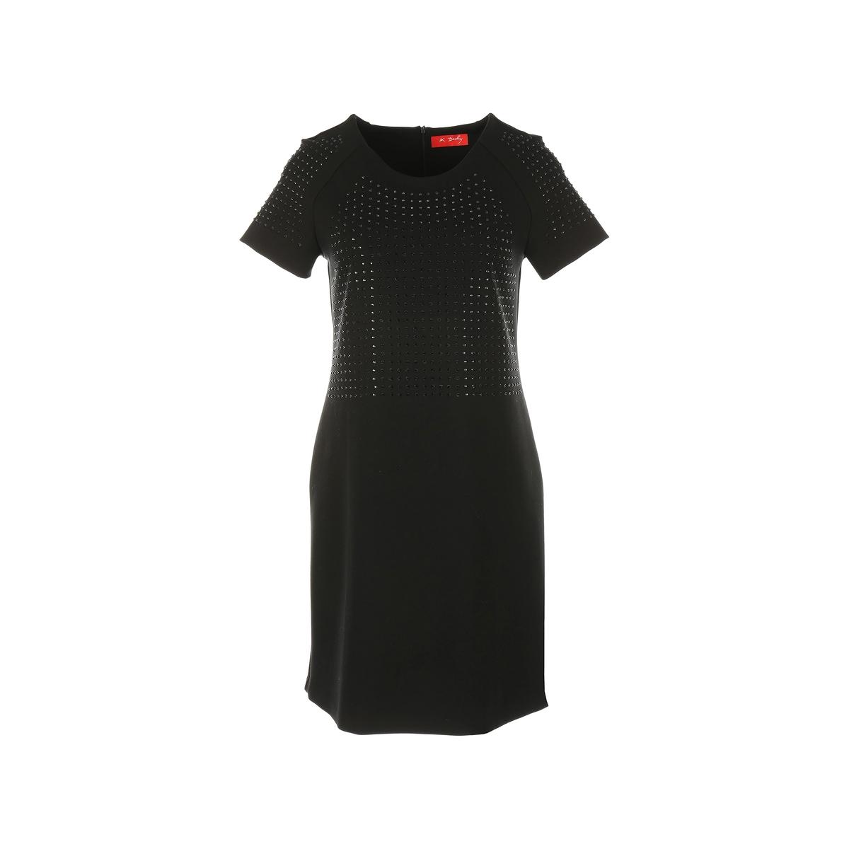 Платье с короткими рукавами и стразамиОписание:Детали •  Форма : прямая •  Укороченная модель •  Короткие рукава    •  Круглый вырезСостав и уход •  35% вискозы, 5% эластана, 60% полиэстера •  Следуйте рекомендациям по уходу, указанным на этикетке изделия<br><br>Цвет: черный<br>Размер: L.M.XL