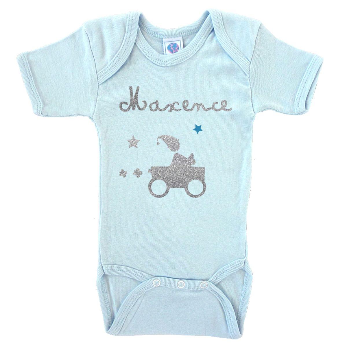 Body bébé prénom en coton manches courtes bleu