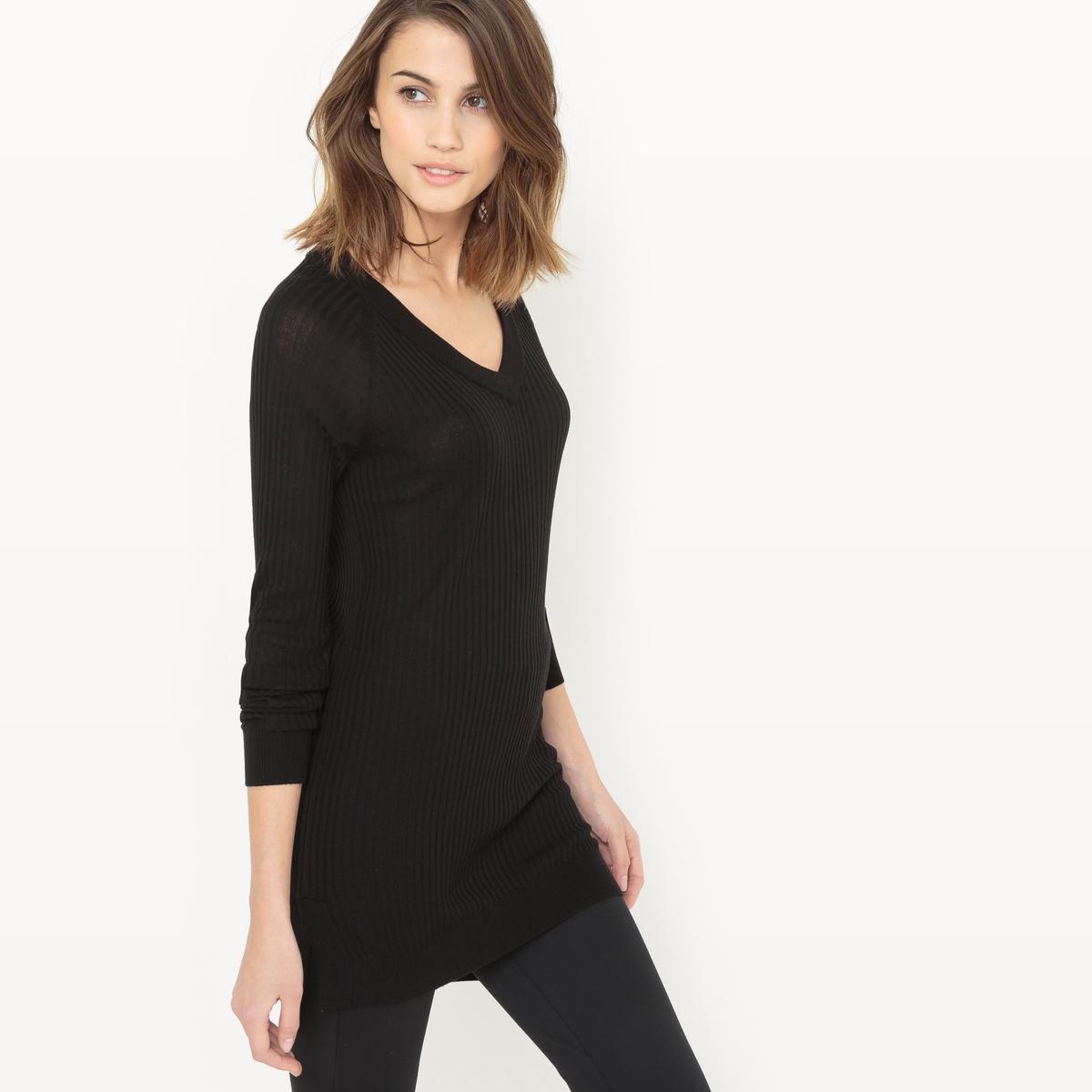 Пуловер струящийся с V-образным вырезом