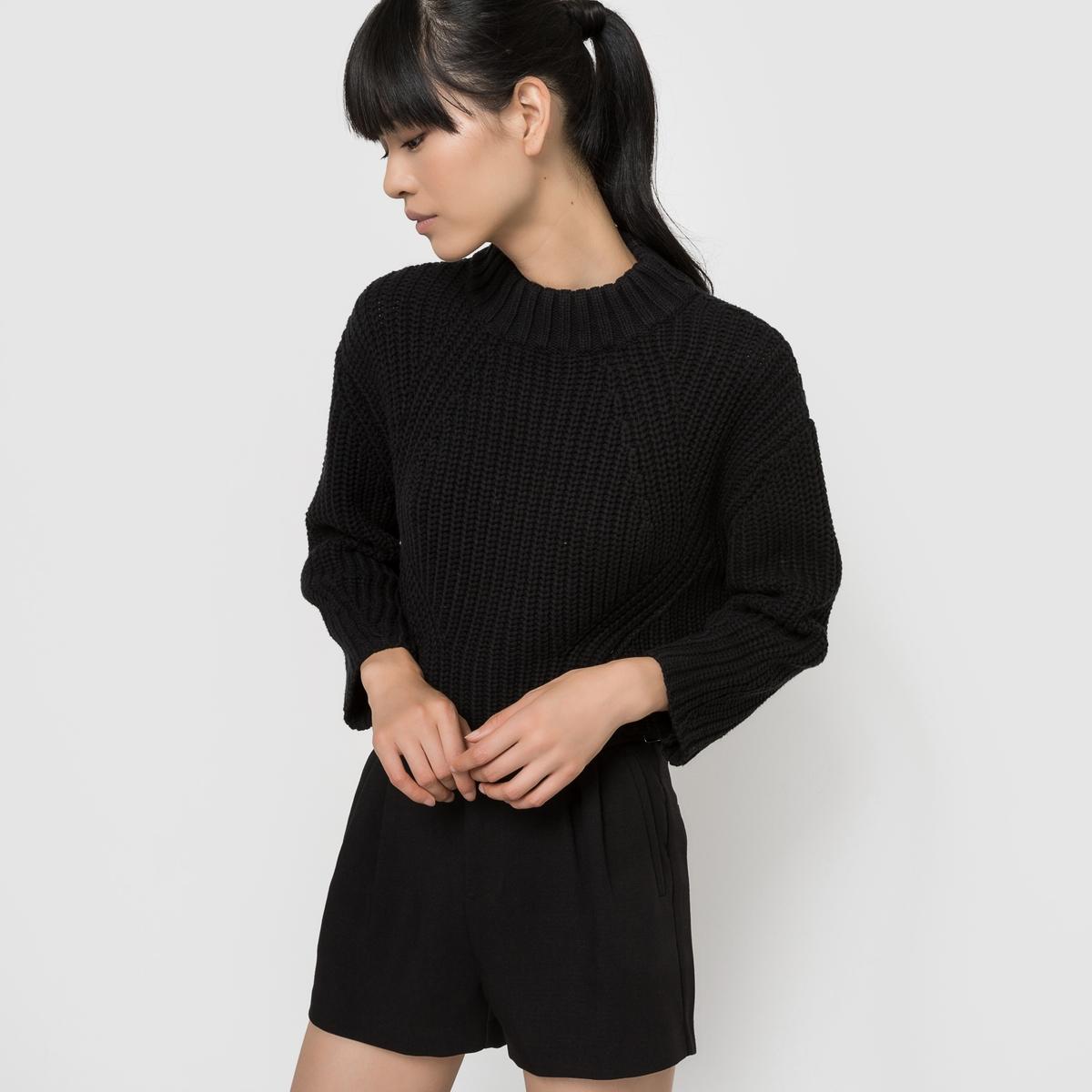 Пуловер со стоячим воротникомСостав и описаниеМатериалы : 60% хлопка, 40% акрилаМарка : See U SoonУходСледуйте рекомендациям по уходу, указанным на этикетке<br><br>Цвет: черный