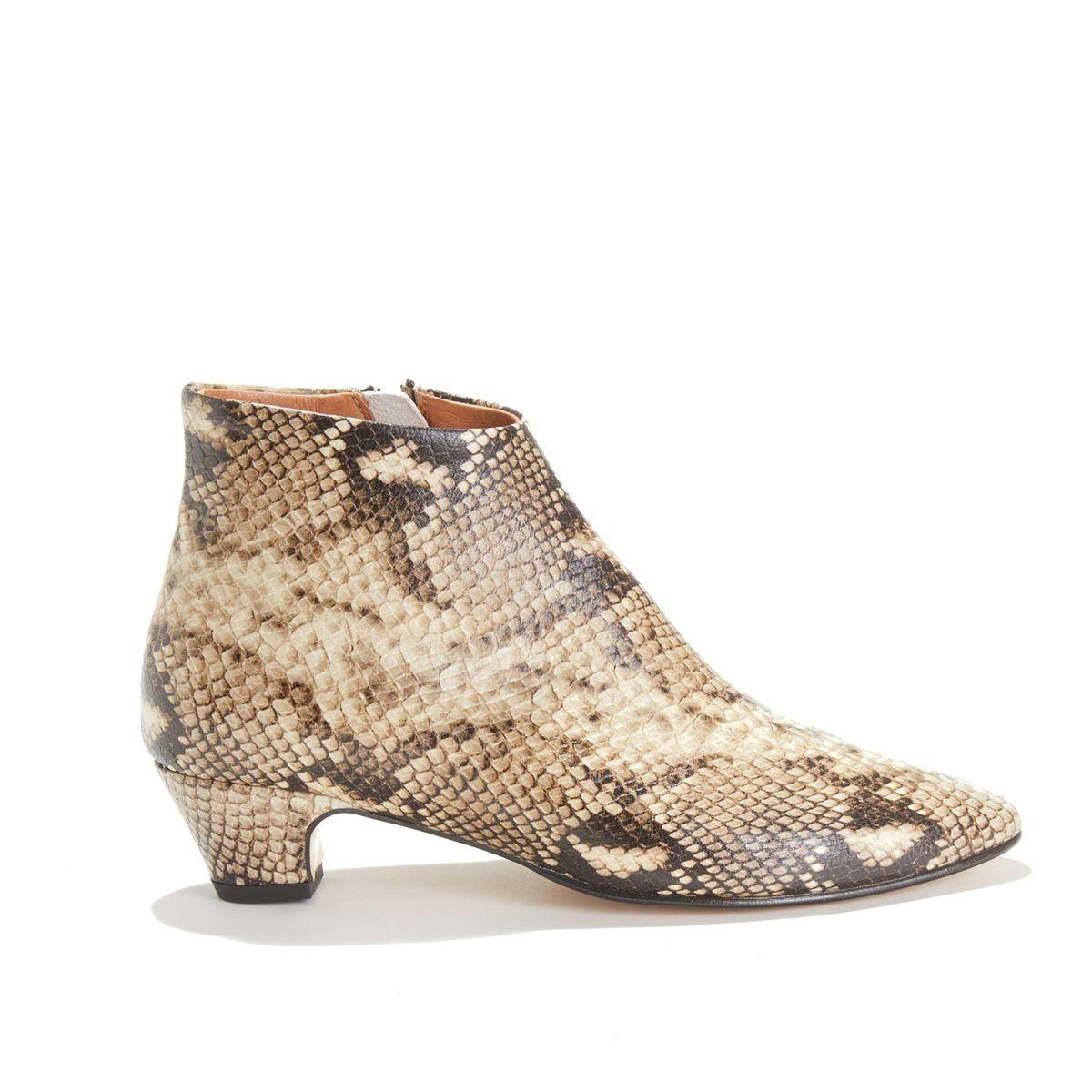 Boots à talon en cuir motif python KYRA SNAKE