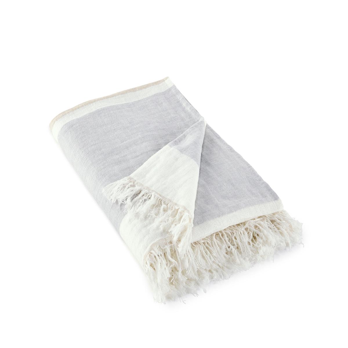 цена на Плед La Redoute В полоску из льна Nizza 130 x 170 см серый
