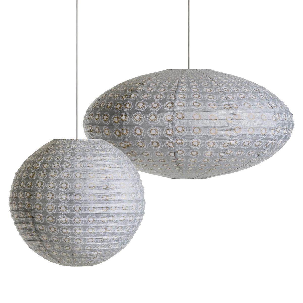 Светильник подвесной круглый Sidy, с принтомХарактеристики :- Каркас из металлических проволок, обтянутый хлопком.- Без проводки Размеры :- Диаметр.50 см.<br><br>Цвет: серый/ белый