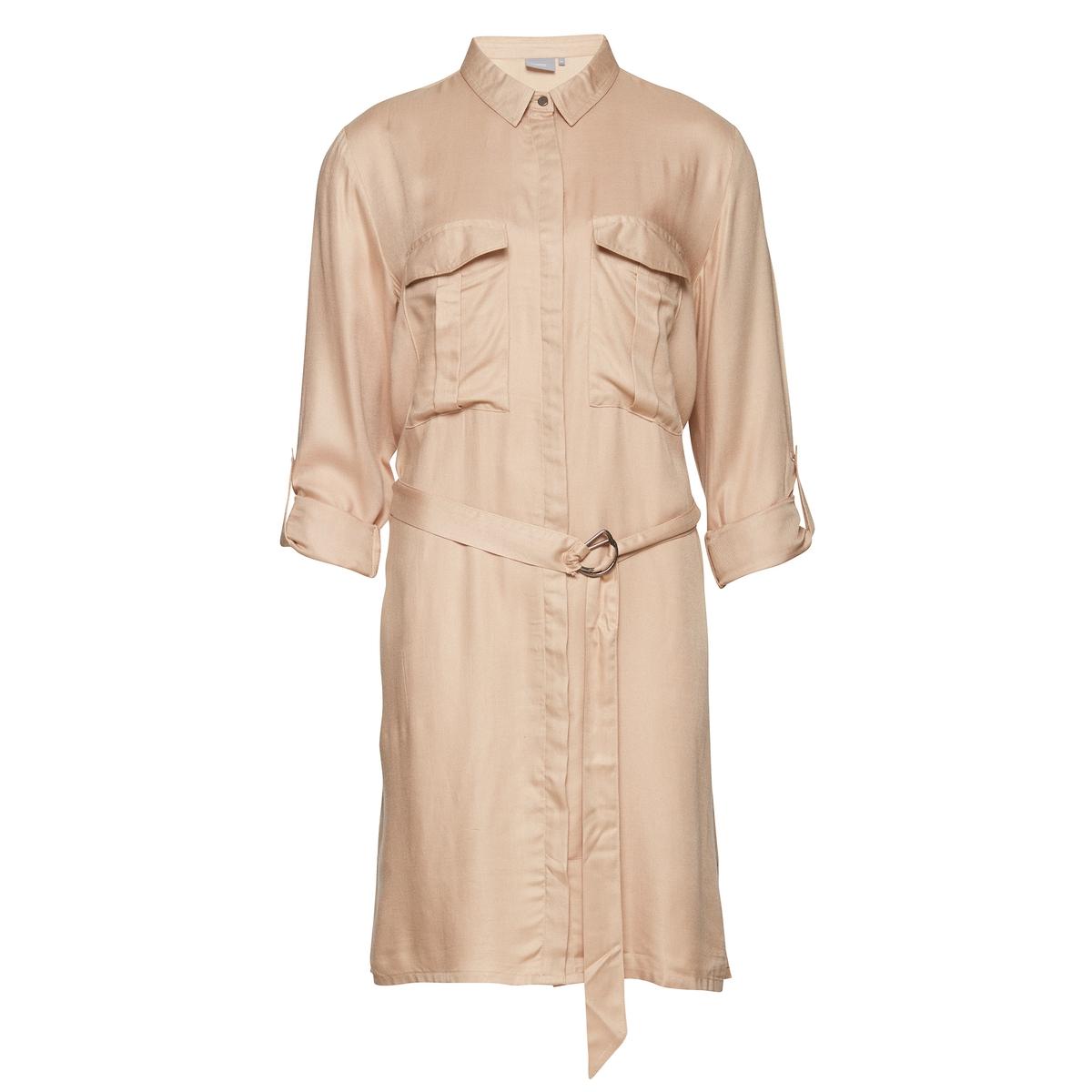 Платье с короткими рукавами и рубашечным воротникомМатериал : 100% вискоза  Длина рукава : Длинные рукава  Форма воротника : воротник-поло, рубашечный. Покрой платья : платье прямого покроя  Рисунок : Однотонная модель   Длина платья : короткое.<br><br>Цвет: бежевый