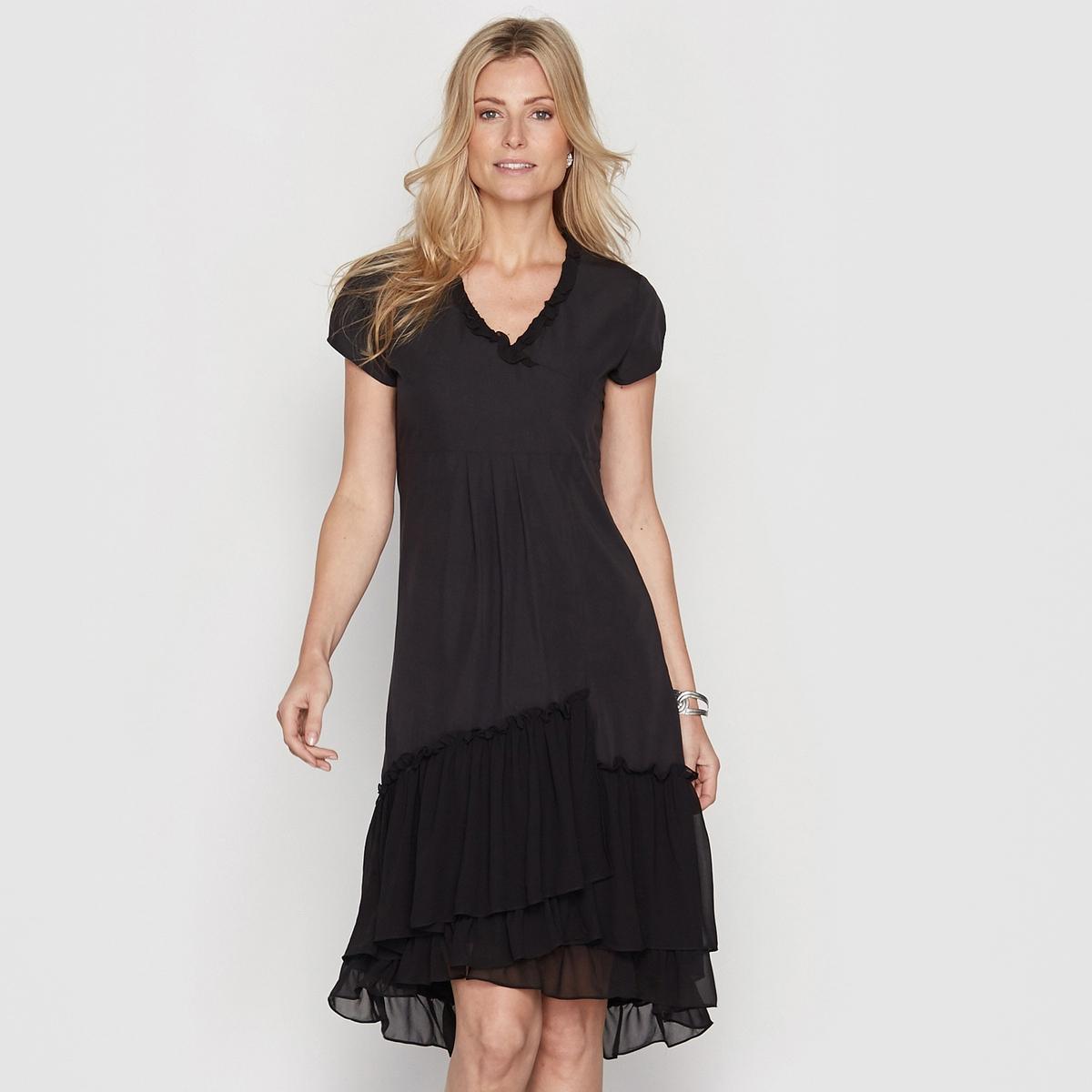 Платье из двух материаловЗастежка на скрытую молнию сбоку. Маленький декоративный бантик на груди.    Подкладка из полиэстера. Длина. 105 см. Микрофибра, 75% вискозы, 25% полиэстера.<br><br>Цвет: черный<br>Размер: 40 (FR) - 46 (RUS).48 (FR) - 54 (RUS)